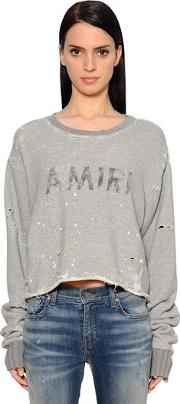 Amiri , Destroyed Logo Printed Cotton Sweatshirt