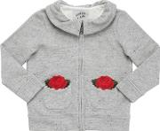 Courage&kind , Roses Embroidered Cotton Sweatshirt