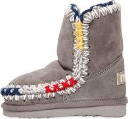 Mou , Eskimo Colorful Stitches Shearling Boots