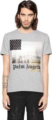 Palm Angels , Los Angeles Print Cotton Jersey T Shirt