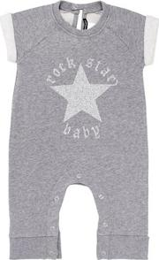Rock Star Baby , Glittered Light Cotton Fleece Romper