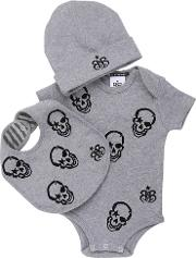 Rock Star Baby , Skulls Bodysuit, Beanie & Bib Set