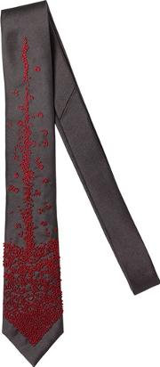 Title Of Work , 6.5cm Tongue Embroidered Silk Twill Tie