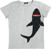 Yporque , Shark Printed Cotton Jersey T Shirt