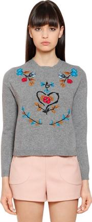 Red Valentino , Floral Wool Blend Sweater