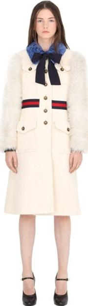 Gucci , Wool Coat W Brushed Wool Sleeves