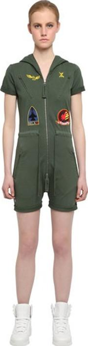 Onepiece , French Terry Cotton Aviator Jumpsuit