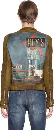 Php , Roy's Hand Painted Leather Moto Jacket