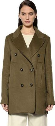 Sportmax , Double Breasted Wool & Angora Peacoat