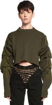 Y Project , Transformer Cropped Wool Knit Sweater