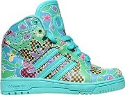 Adidas By Jeremy Scott , Floral Faux Leather High Top Sneakers