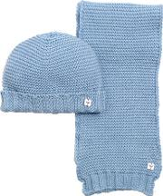 Armani Junior , Cotton & Wool Blend Tricot Scarf & Hat