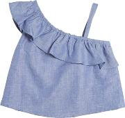 Milly Minis , Cotton & Linen Blend Chambray Top