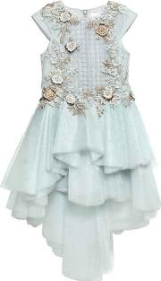 Mischka Aoki , Floral Embellished Tulle Party Dress