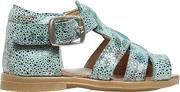Two Con Me By Pepe , Flowers Printed Metallic Suede Sandals