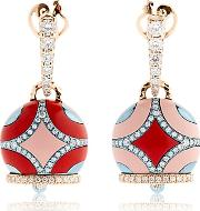 Chantecler , Maiolica Rose Gold & Coral Earrings