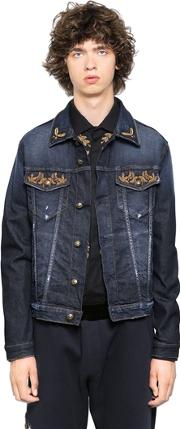 Lords & Fools , Embroidered Stretch Cotton Denim Jacket