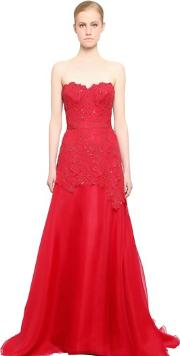 Reem Acra , Embroidered Lace & Silk Organza Dress
