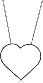 Seeme , Black Spinel Heart & Long Chain Necklace