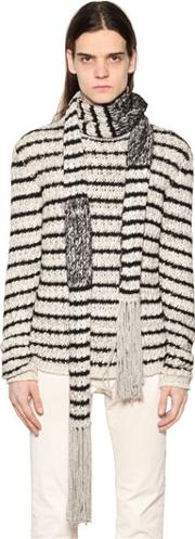 John Varvatos , Stripe Knit Scarf