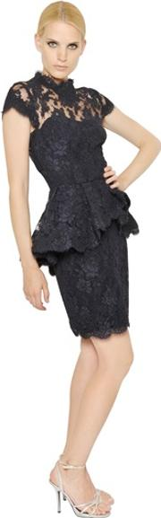 Reem Acra , Cotton Laced Tulle Dress
