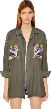 Forte Couture , Embroidered Military Cotton Shirt