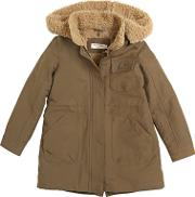 Nice Things Mini , Cotton Twill Blend & Faux Shearling Coat