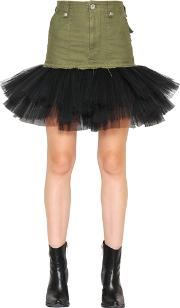 Unravel , Military Cotton Skirt With Tulle Hem