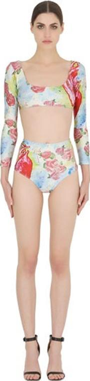 Adriana Degreas , Heart Printed Lycra Two Piece Swimsuit