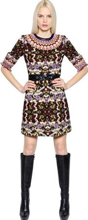 Andrew Gn , Leather Trim Wool Blend Jacquard Dress