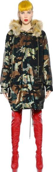 Ashish , Camouflage Sequined Faux Fur Parka
