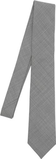 Bram , Micro Houndstooth Tie W Floral Tipping