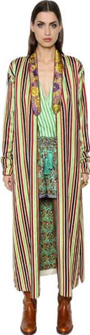 Etro , Anise Cotton & Silk Blend Robe Jacket