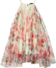 Jakioo , Rose Print Stretch Tulle Gathered Dress