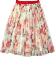Jakioo , Roses Stretch Tulle Gathered Skirt