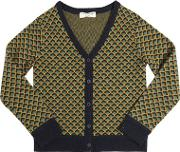 Nice Things Mini , Wool Blend Jacquard Cardigan