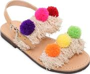 Selini Action , Nappa Leather Sandals W Pompoms
