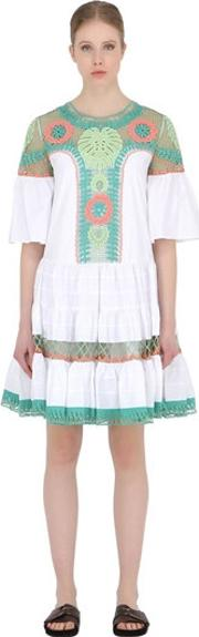 Temperley London , Embroidered Cotton Poplin & Lace Dress