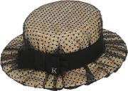 Kreisi Couture , Sophie Straw Boater Hat Wtulle Overlay