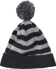 Caramel Baby And Child , Striped Wool & Alpaca Blend Hat Wpompom
