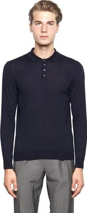Drumohr , Extra Fine Merino Wool Knit Polo Sweater
