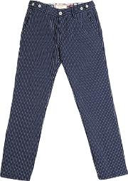 Myths , Stripes Embroidered Cotton Twill Pants