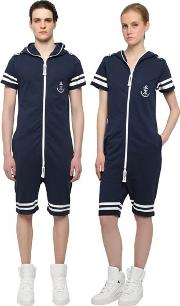 Onepiece , Naval French Terry Cotton Jumpsuit