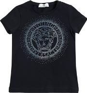 Young Versace , Logo Embellished Cotton Jersey T Shirt