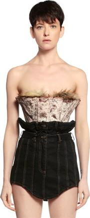 Y Project , Cropped Velvet Corset Top