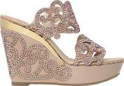 Rene Caovilla , 125mm Leather & Swarovski Wedge Sandals