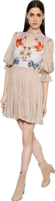 Temperley London , Floral Embroidered Lace & Chiffon Dress