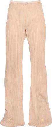 Vionnet , Plisse Flared Silk Crepon Pants