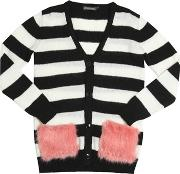 Miss Grant , Oversized Striped Wool Blend Cardigan