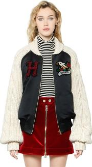 Tommy Hilfiger Collection , Satin Bomber Jacket W Knit Sleeves
